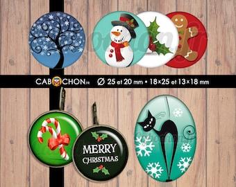 C'est Noël • 60 Images digitales RONDES 25 20 OVALES 18x25 13x18 arbre tree life bonhomme neige chat sucre candy merry christmas pain épices