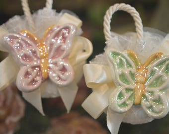 Wedding Favor Soap, Bridal Shower Soap Favors, Favors Soap with authentic Capodimonte Made in Italy Butterfly, Elegant Soap Favors LOT of 24