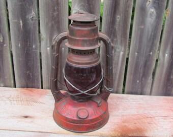 Vintage 1930's Dietz Little Wizard Lantern with Red Globe