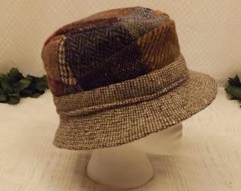 Vintage Donegal Tweed Multi Color Bucket Hat Size 7 1/4