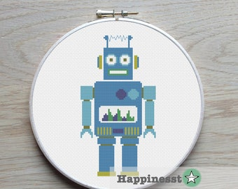 cross stitch pattern robot, modern cross stitch, PDF,  ** instant download**