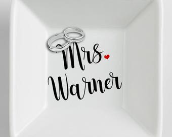 Ring Dish Personalized Wedding Gift Engagement Ring Dish Ring holder Engagement Gift  Engagement Ring Holder  Jewelry dish Ceramic dish