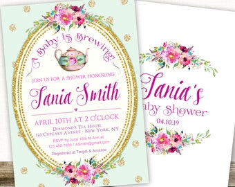 A Baby is Brewing Invitation, Baby Shower Tea Party Invitation, Baby Tea Shower Invites, Tea Party Baby Shower Invitations Girl, Floral
