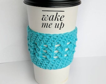 Coffee Cozy - Custom Colors - Cup Sleeve - Teacher's Gift - Bridesmaids Gift - Gift for Her - Crochet Gift - Travel Mug Cozy - Coffee Gift