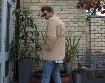 Suede Leather Cowboy Fringe Jacket
