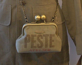 "Khaki ""Plague workshop"" vintage purse shoulder bag"
