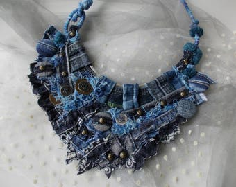 Jeans for you... Recycled jeans necklace, eco-friendly textile jewelry, hand wrapped tribal chanky denim fiber necklace, shabby chic jeans.