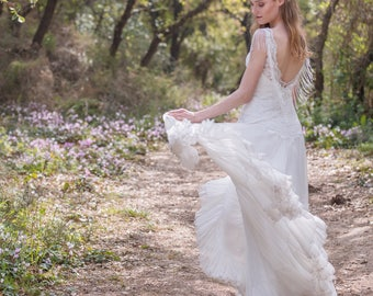 Wedding Dress, Bohemian, Lace Top, Open Back, Wedding Gown, Simple Lace Dress, Bridal Gown, Vintage Wedding, Full Skirt, Ivory Dress, Boho