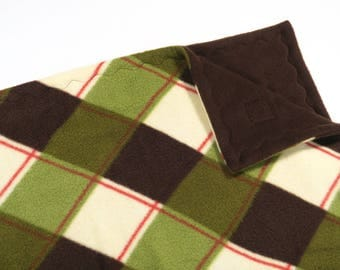Guinea pig midwest habitat cage liner - brown green plaid - guinea pig fleece - cavy hedgehog rabbit 24 x 47  READY TO SHIP