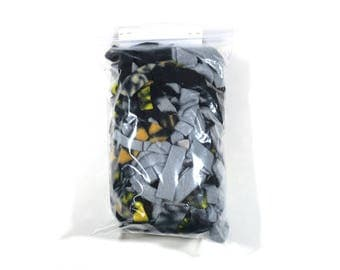 Fleece scraps for pets - black, gray, yellow mix - great for small animals to play and sleep in - washable - nesting material- READY TO SHIP