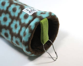 Small pet tunnel or hammock for guinea pigs, sugar gliders or rats - brown floral - READY TO SHIP