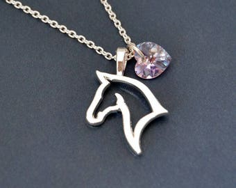 Birthstone Necklace with Horse Pendant Horse Necklace  Swarovski Heart Birthstone  Horse Jewelry  Silver Horse Necklace