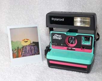 Upcycled Pink and Retro Green Polaroid 600 OneStep With Close Up And Flash Built-In - Ready To Use