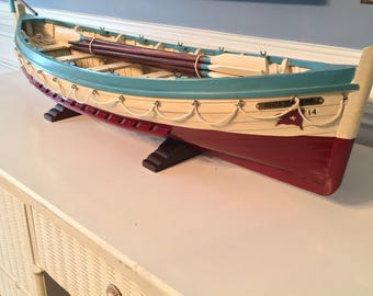 """Titanic Lifeboat #14 Exceptionally detailed replicaby skillful master craftsmen , Wood Hanging Boat 34"""" Long"""