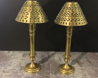 Unique Brass Candlestick Holders with Brass Lamp Shade