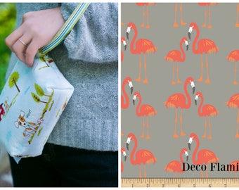 Custom Pooch Pouch Leash Bag/Wristlet in Puppy Park in Deco Flamingo