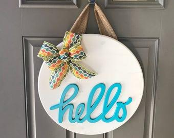 Door Hanger, Hello, Front Door Decor, Door Sign, Porch Sign, Bright Door Decor, Summer Wreath, Summer Door Hanger, Round Wood Sign