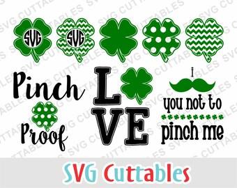 St. Patricks Day SVG, St. Patrick's day Circle Monogram Frame, shamrock svg, pinch proof svg, eps, dxf,  Silhouette, Cricut, Digital file