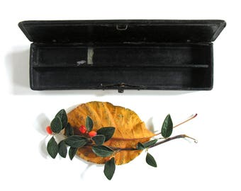 Wooden Pencil Case - Lacquered Papier Mache Pen Holder - Old French School Equipment - Made in France - French School Collectible Pencil Box