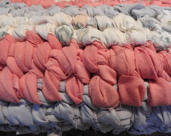 Toothbrush Oval Rag Rug in Salmon Lavender/ Blue