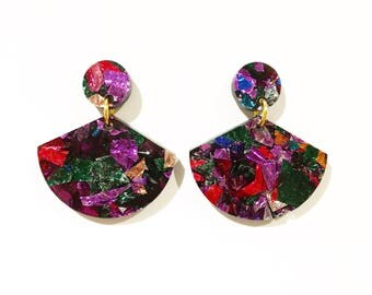 Rainbow glitter drop fan earrings, Laser cut acrylic earrings, geometric earrings