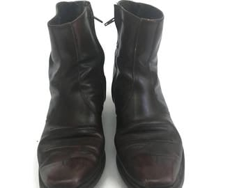 Vintage Oxblood Leather Moto Western Boots Ankle Boots size 10
