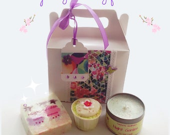 Night Garden gift box soap, candle and bath truffle, Jasmine, Tuberose and Lavender fragrance