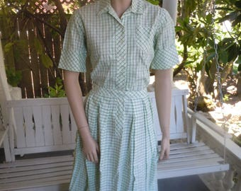"Bust:  up to 36"" ** Spectacular 1950s Cotton Blouse / Skirt Set  (Deadstock Unworn)"