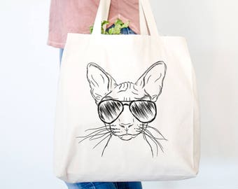 Sammy the Sphinx Cat Canvas Tote Bag