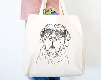 Tufton the English Mastiff Canvas Tote Bag - Gifts For Dog Owner, Dog Tote Bag, Dog Lover Bag