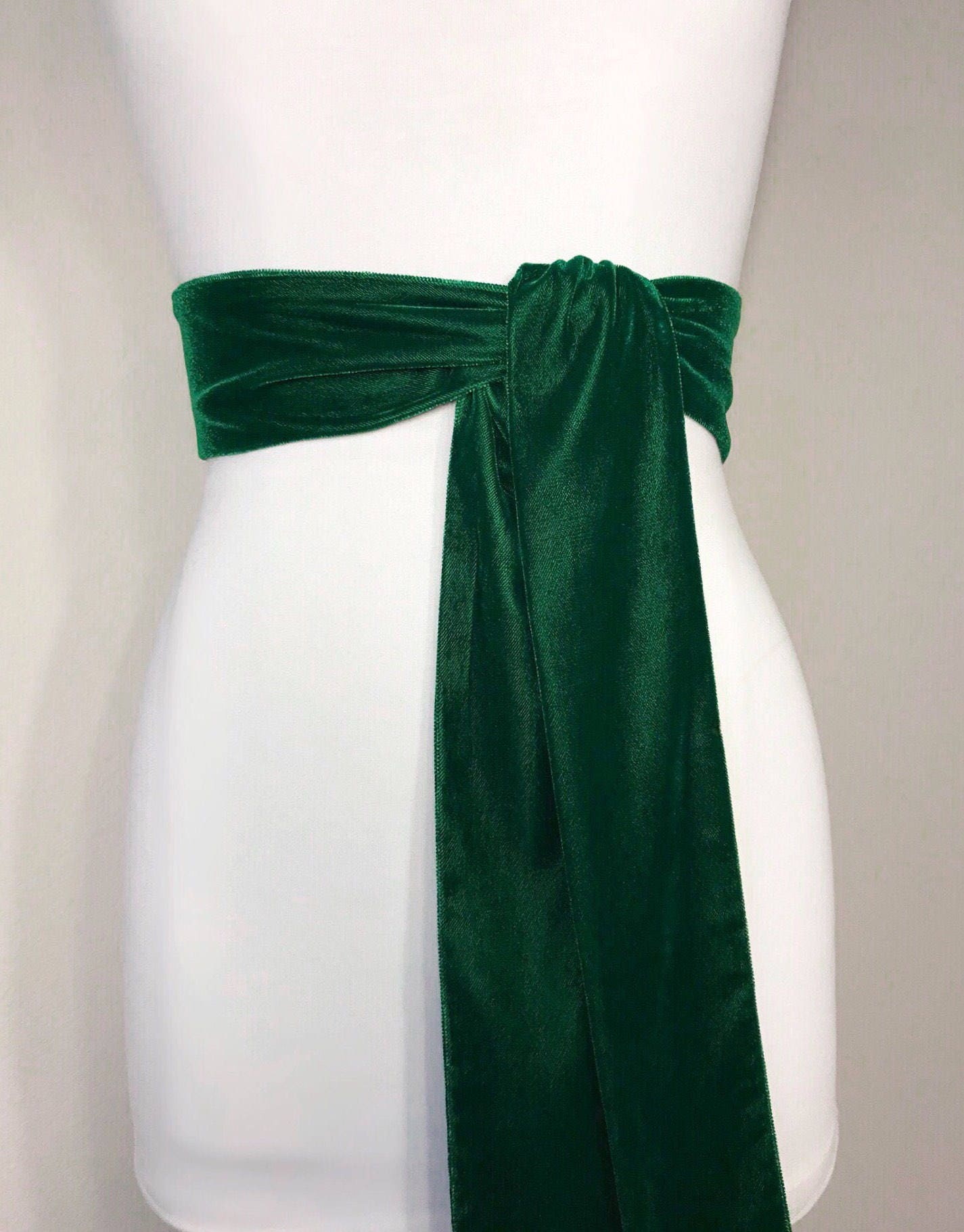 emerald green velvet sash green sash in plush velvet