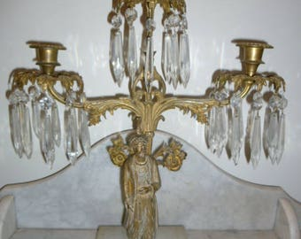 Antique orientalist figural 3 branches crystal, brass and gilt metal candelabra on marble circa 1890s
