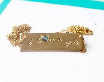 I Love You Bar Necklace/ London Blue Topaz Gemstone Bar Necklace/ I Love You Jewelry/ Valentines Day Gifts for Her/ I love you jewelry/Gifts