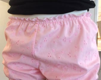 Women Bloomers Pink in Embroidery Cotton / Pajama Short / Short / Home wear / Sleep wear / Panties / Women Gift / Gift For Her