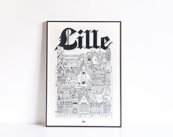 Lille - series illustration * Travel With Me *. Black and white. 21 x 29.7 cm