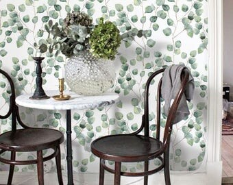 Vintage Leaves Watercolor Removable Wallpaper - Peel & Stick, Repositionable Fabric