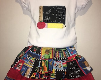 Girls Back To School Boutique Skirt Set Outfit! Twirly Skirt! Embroidered Applique Shirt! Bow Available! 3 4 5 6 7 8 First Day! Chalkboard