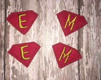 Set of 4 Super Initial Felties Superhero Monogram Letter Feltie Embellishment Girl Bow! Birthday Party Decoration Decorations Planner Clip