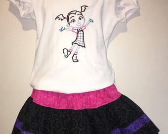 Girls Vampirina Skirt Set Boutique Birthday Party Twirl Twirly Skirt Embroidered Shirt TShirt Outfit! Vampire Vee Girl Hair Bow Hairbow