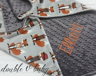 Personalized Fox Baby Blanket, Stroller Blanket, Boy Baby Blanket, Orange and Gray Fox Blanket, Blanket with Name, Boy Minky Blanket