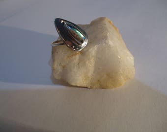 Handmade .925 Sterling silver ring with Rainbow moonstone.