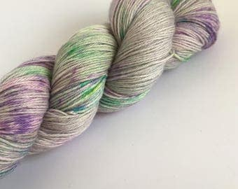 Speckle dyed merino / cotton blend sock yarn ~ Pusheenicorn ~ summer socks, knitting, crochet