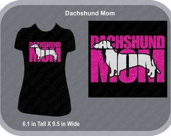 Dachshund Dog - DACHSHUND MOM Womens Glitter - Dachshund- Doxie - Mom T Shirt