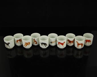 N3828 A Set Superb Chinese Enamels Porcelain Ten Dogs Teacups w Yong Zheng Mark
