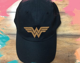 Wonder woman Hat / Super hero tank, Inspired, Custom wonder woman Shirt, Gold Glitter, Bright Red T-shirt, super hero for ladies