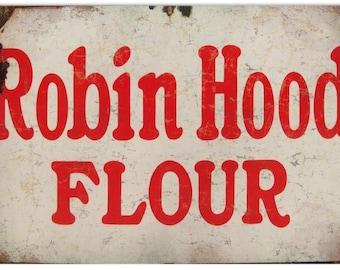 """RG1322 Robin Hood Flour Sign 12""""x18"""" .040 Aluminum"""