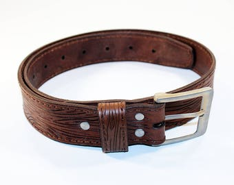 Brown Leather Belt With Wood Texture,Leather Belt , Handmade Belt,Great Gift. Brown belt.