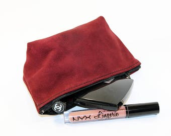 Leather Makeup Pouch, Leather Cosmetic Bag, Burgundy Leather Pouch, Leather Clutch, Small Leather Pouch!