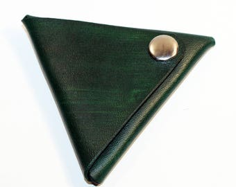 Leather coin wallet, triangle coin purse,green coin wallet, great leather item, green men's wallet, small coin wallet.