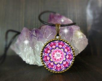 Seven chakra pendant, sacred geometry cabochon, talisman mandala jewelry, lotus tibetan pendent under 10 dollars, positive zen, gift ideas.